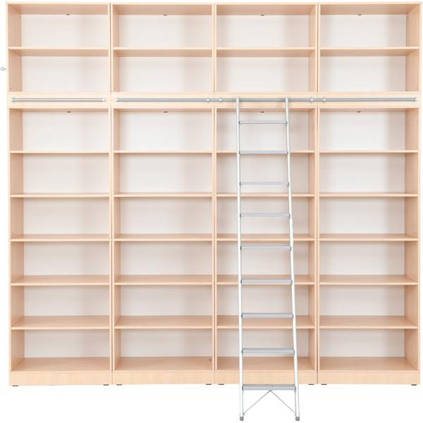 Zestaw Grande 25 z otwartymi półkami na książki, wyposażony w drabinę