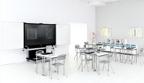 Pracownia wyposażona w meble z kolekcji Grande z Monitorem Interaktywnym InsGraf Digital
