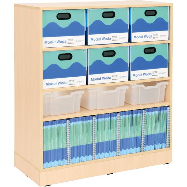 Funkcjonalny regał grande do pracowni geograficznej przeznaczony do przechowywania modułowych pracowni przyrodniczych
