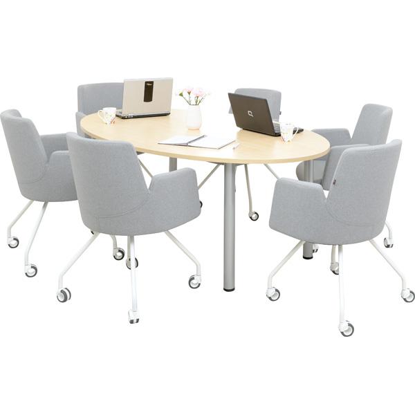 Stół owalny z 6 krzesłami do pokoju nauczycielskiego