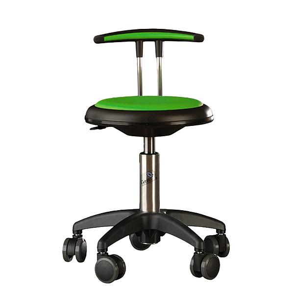 Krzesło Genito z oparciem w kolorze limonkowym jako doskonały element wyposażenia do pracowni przedmiotowej